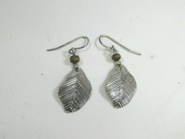 Vintage Silvertone Feather Drop Dangle Pierced Earrings 51387 - $12.86