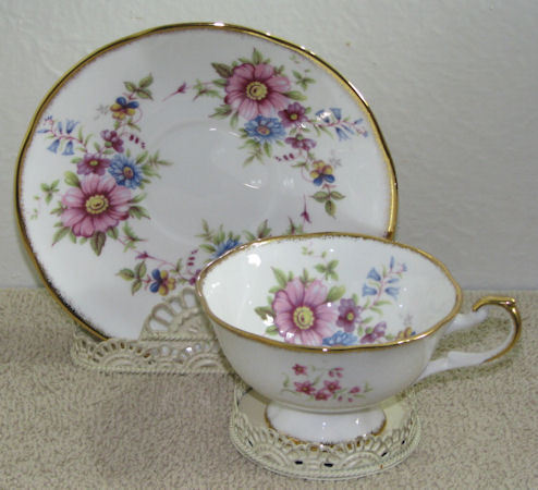 Vintage Rosina Footed Cup and Saucer Pink Blue Floral Patter