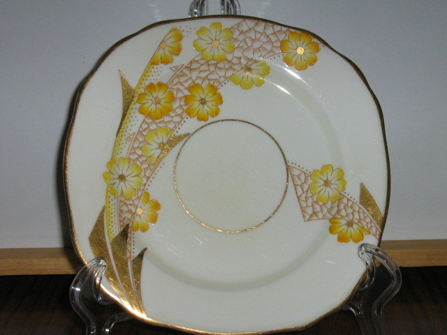 Vintage Royal Stafford Trio - Cup, Saucer, Dessert Plate - Art Deco Pattern-1952