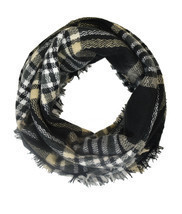 Black and Gold Gingham Plaid & Check Infinity Scarf - £9.84 GBP