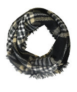 Black and Gold Gingham Plaid & Check Infinity Scarf - ₨937.77 INR