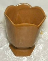"VINTAGE FRANKLIN RUST BROWN VASE POTTERY SIGNED Approx 6 1/2"" X 5 1/4"" x 5 1/4"" image 2"