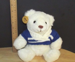 Russ soft pets Caress Soap white polar Bear Plush Teddy blue sweater w/ ... - $13.36