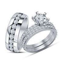 White Gold Finish Sterling 925 Silver Simulated Diamond His & Her Trio Rings Set - $149.99