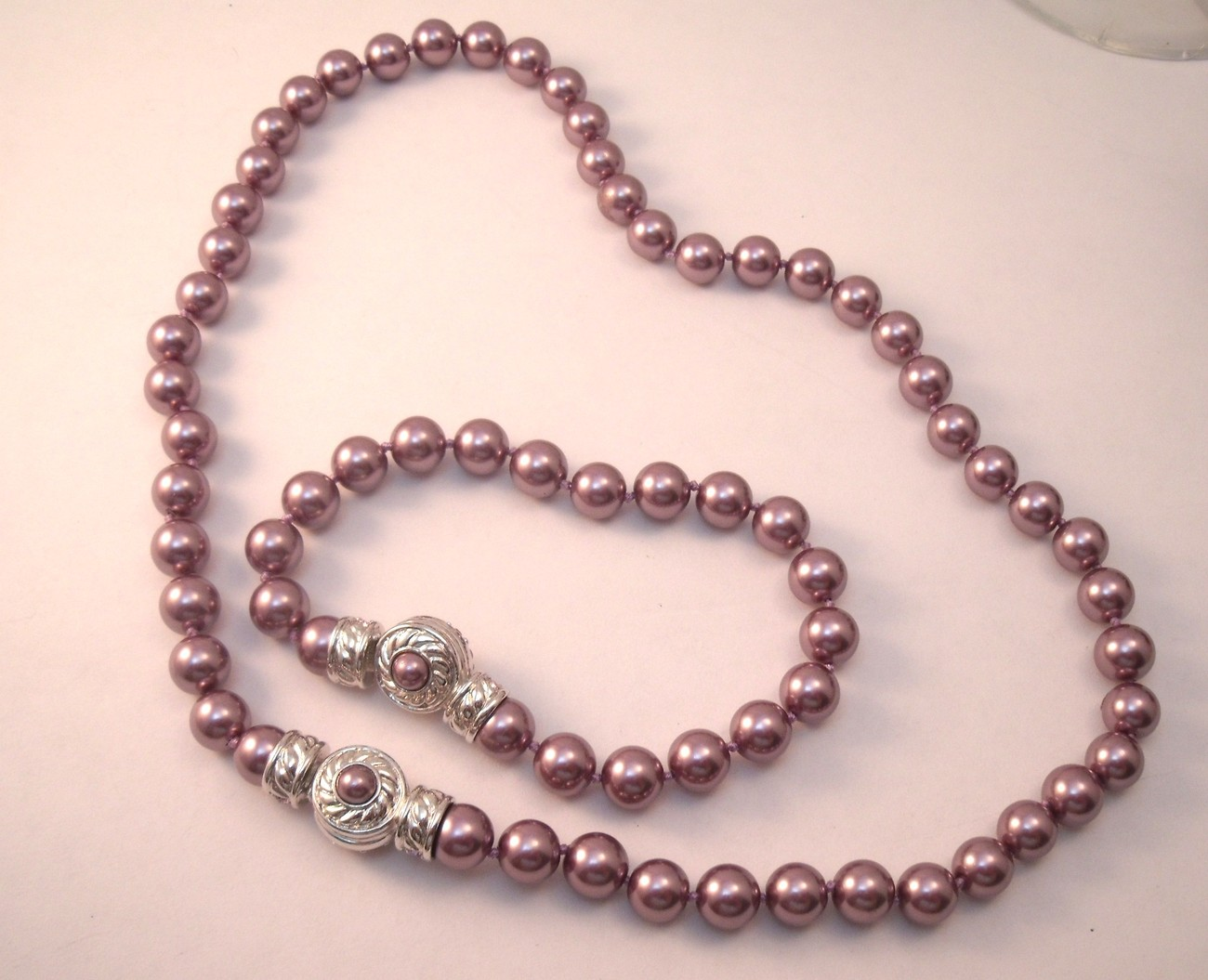 Primary image for Nolan Miller Frosted Grape Faux Pearl necklace and bracelet set with rhinestone