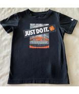 Nike Boys Black Just Do It Orange Basketball Hoop Short Sleeve Shirt 5-6 - $9.28