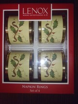 Lenox Holiday Nouveau Gold Set Of 4 Metal Napkin Rings New - $32.40