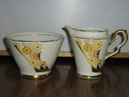 Vintage Royal Stafford Bone China Creamer & Sugar Bowl - Art Deco Patter... - $15.00