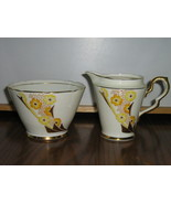 Vintage Royal Stafford Bone China Creamer & Sugar Bowl - Art Deco Patter... - £11.67 GBP