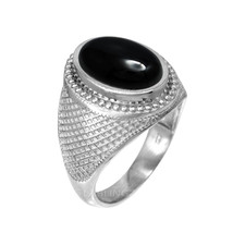 Sterling Silver Oval Onyx Cabochon Mens Statement Ring - $79.99