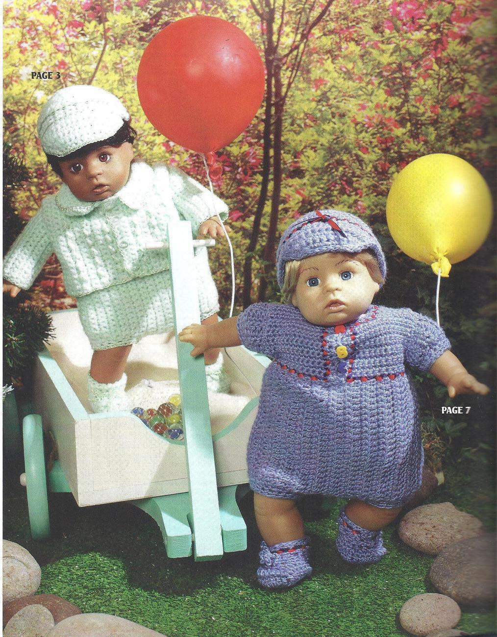 """Dress Up Your Baby Doll~12"""" Doll Crochet Patterns~RARE"""