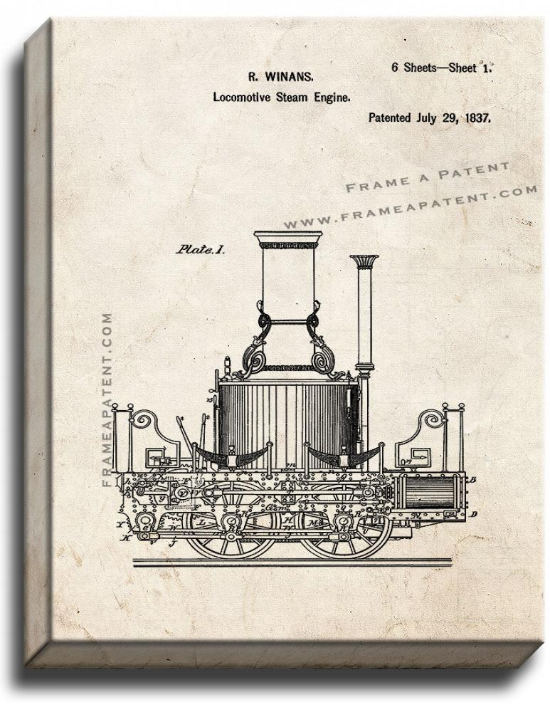 Primary image for Locomotive Steam Engines Patent Print Old Look on Canvas