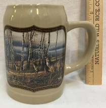 Terry Redlin Tankard Beer Stein Mug Whitetail Deer The Birch Line Trees ... - $22.76