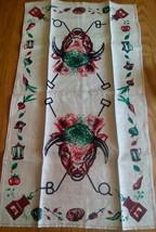 UNUSED LINEN PRINT KITCHEN TOWEL~WESTERN RANCH BULL BISON BUFFALO BRANDI... - $8.90