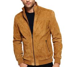 New Men Brown Suede Leather Jacket Slim fit Biker Motorcycle Jacket - FL112 - $114.99