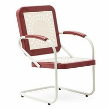 Retro Vintage Style Red White Metal Patio Spring Chair Outdoor Furniture - $112.36