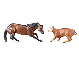 Breyer classic size Cutting Horse and Calf Very well done, beautiful 610... - $33.85