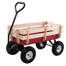 Outdoor Pulling Garden Cart Wagon with Wood Railing - $98.25