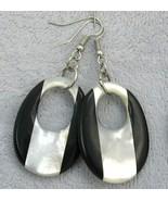 Handcraft gemstone black onyx M.O.P. silver gold dangle/clip back earring - $13.99