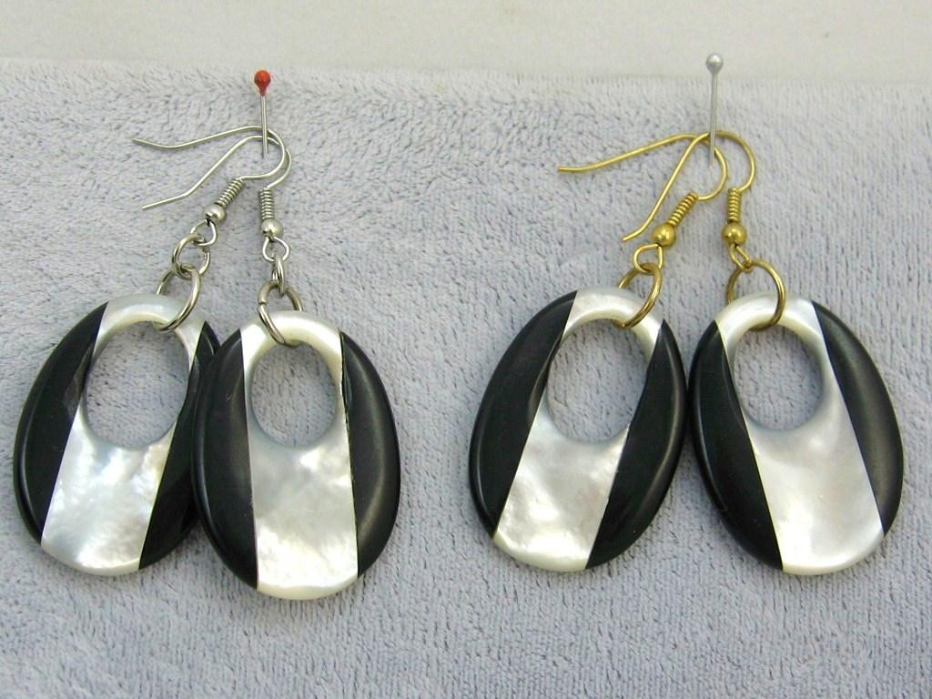 Handcraft gemstone black onyx M.O.P. silver gold dangle/clip back earring