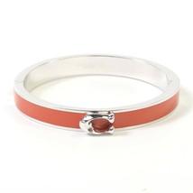 NWT COACH Signature Push Hinged Bangle Bracelet Jewelry Sunrise Red Silver 67480 - $45.54
