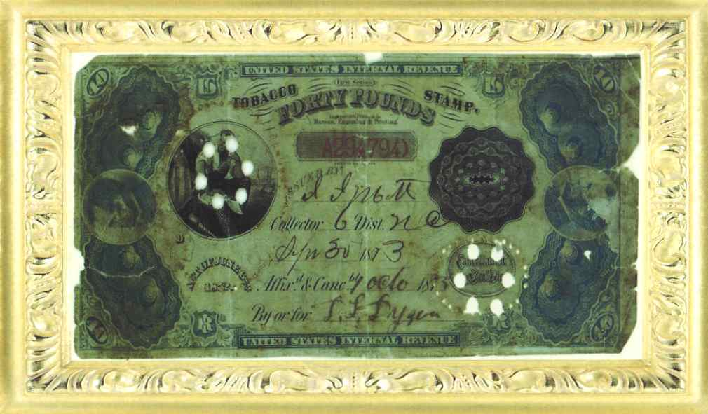 1873 Forty Pounds Tobacco Stamp