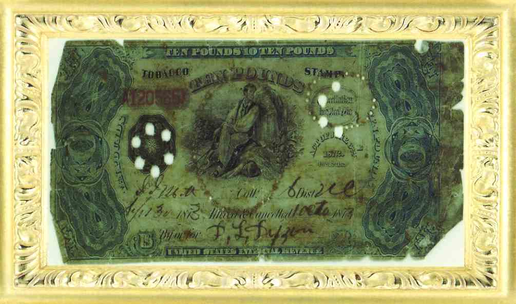 1873 Ten Pounds Tobacco Stamp