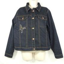 Arizona Jean Co Denim Jacket Women Plus Size 2XL Blue Dark Wash Butterfl... - $27.71