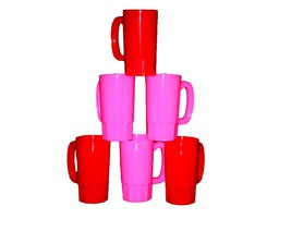 8 Small 14 Oz Plastic Children's Mugs 4 ea Pink, Red-Made in America Lea... - £24.86 GBP