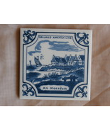 Holland America Line MS Maasdam Souvenir Tile Delft with Sailboat and Vi... - $3.99