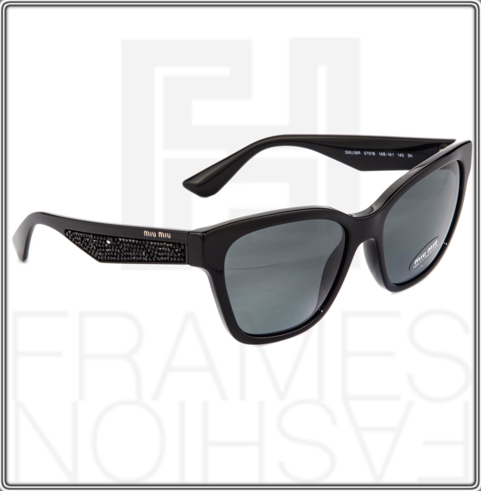 MIU MIU PAVE EVOLUTION MU 06R Square Black Rock 1AB-1A1 Sunglasses MU06RS Women image 7