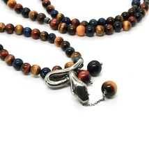 925 STERLING SILVER NECKLACE WITH SNAKE AND TIGER'S EYE MADE IN ITALY BY MASCHIA image 2