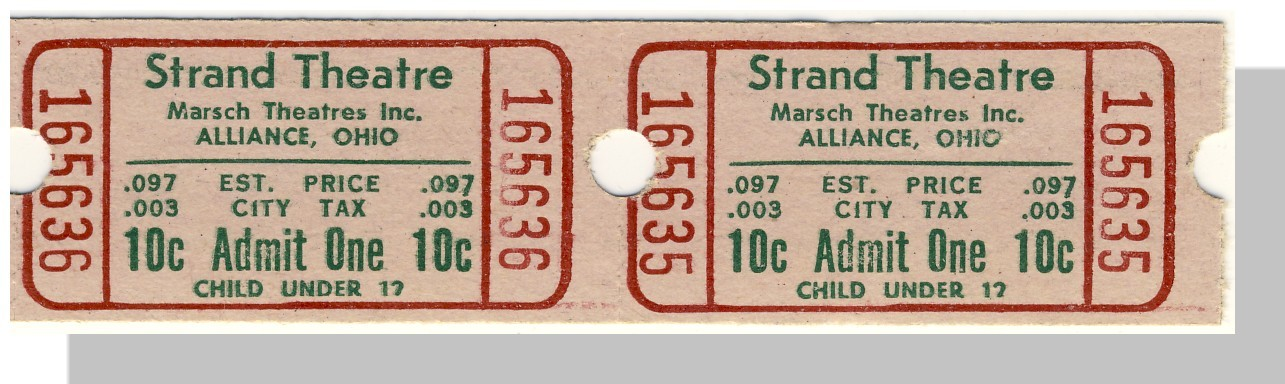 Vintage Strand Theatre Tickets, (Pair), Alliance, Ohio/OH, 1