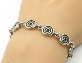 925 Sterling Silver - Vintage Smooth Spiral Designed Link Chain Bracelet... - $86.88