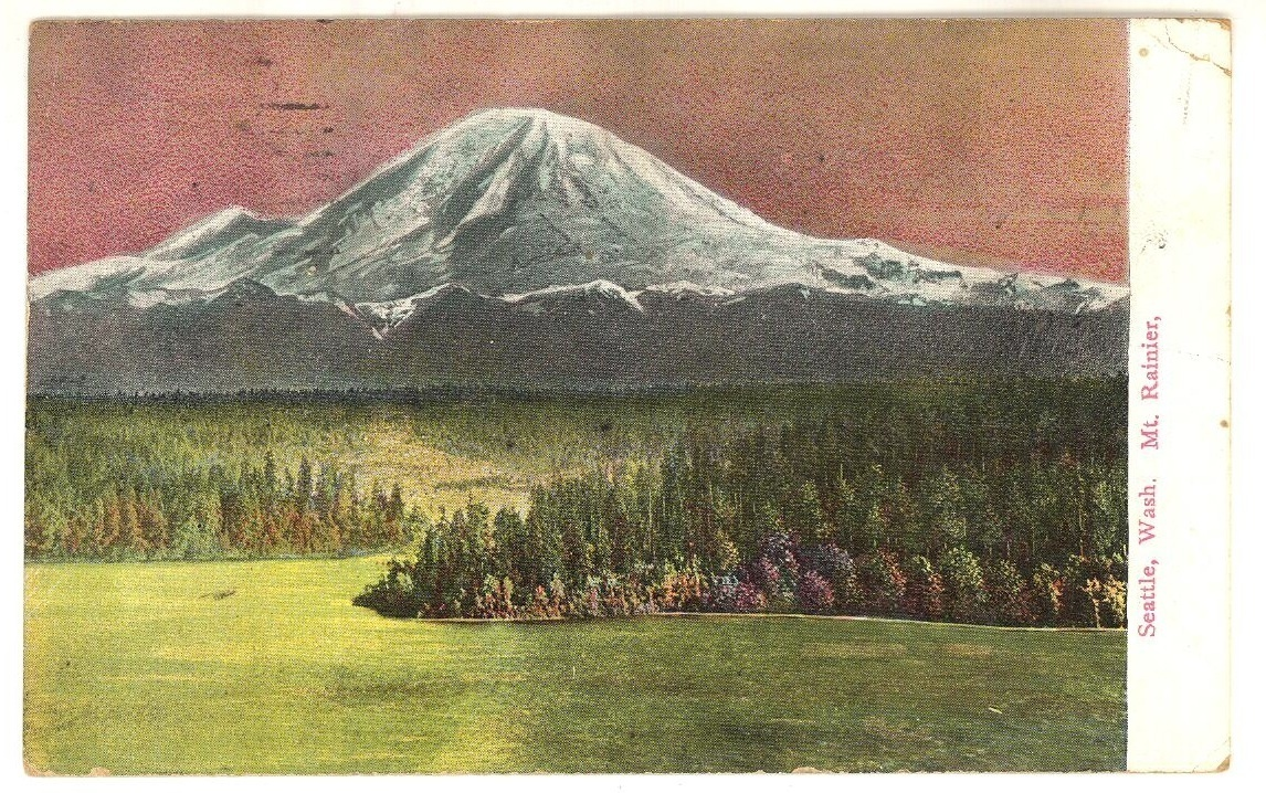 Mt Rainier vintage postcard 1909 Seattle World Fair cancel antique