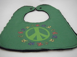 Reversible Baby Bib Dark Green Bib w/ Medium Green Peace Sign Dancing Bears - $12.99