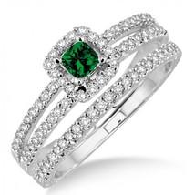 2 Carat Emerald & Sum Diamond Bridal Set two row halo on 14k Yellow Gold Fn  - $99.99