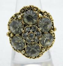 VTG Gold Tone Gray Grey Glass Rhinestone Flower Ring Size 7 Embossed Band - $27.32