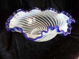 Fenton Art Glass  Handcrafted Blue Ridge White Opalescent Cobalt Crest Bowl - $125.00