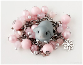 Kawaii Bunny Rabbit Bracelet, Pastel Pink, Stainless Steel - Sweet Lolit... - $38.00