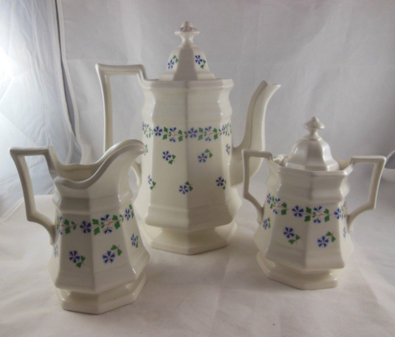 Primary image for 3 pc Iroquois China Henry Ford Museum Periwinkle Coffee Tea Pot creamer sugar