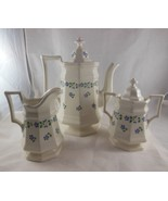 3 pc Iroquois China Henry Ford Museum Periwinkle Coffee Tea Pot creamer ... - $97.01