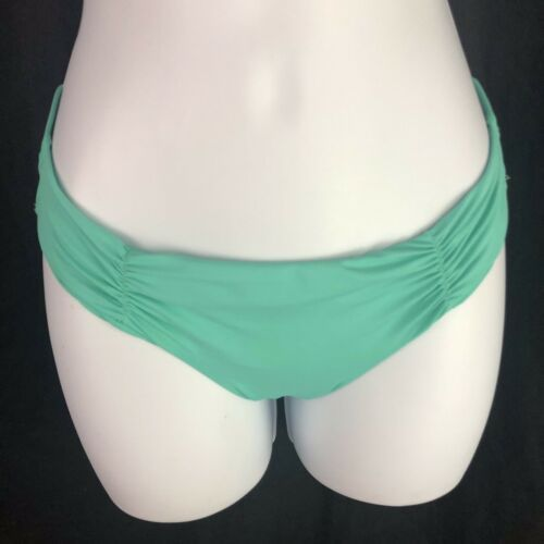 L Space Monique Side Back Ruched Bikini Bottoms Green Blue Hipster Womens L