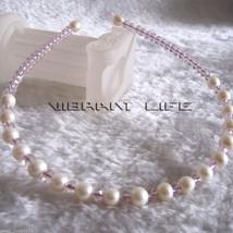 8.0-9.0mm White AA Freshwater Pearl 6mm Pink Crystal Headband AC - $19.10