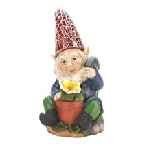 Happy GARDENING GNOME Solar Statue Outdoor Decor - $19.22