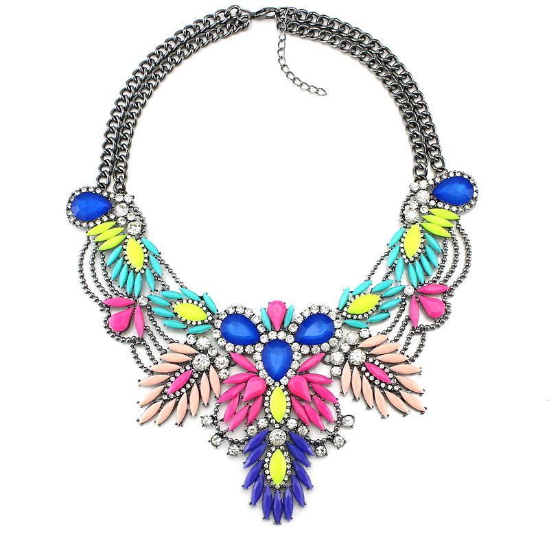 Luxury Color Crystal Bridal Collar Necklace S & Pendants Fashion Women Rhineston
