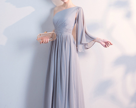 Gray Full Chiffon Bridesmaid Dresses Gray Wedding Bridesmaid Maxi Chiffon Dress  image 3