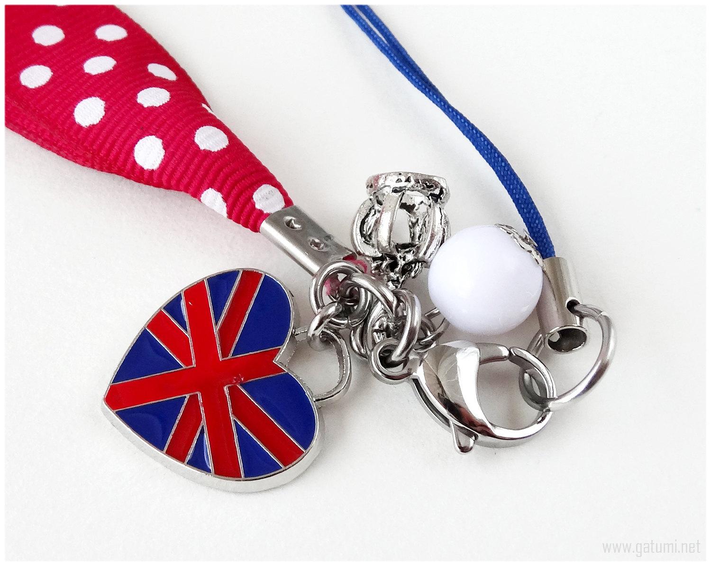 Union Jack Phone Charm, Polka Dot Ribbon, Burgundy Red, England Flag, Sweet Loli