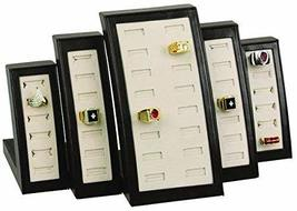 MW-MM Jewelry Supplies 40 Slot Ring Display Brown Leather Trim - $65.57 CAD