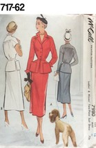 VTG Sewing Pattern McCall #7980 SZ 16 Bust 34 Two-Piece Suit Dress 1950 ... - $24.52